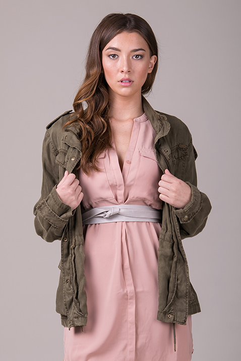 Military Jacket + Wrap Belt | 5 'Must-Try' Fall Styling Combos | Belted pink dress | ADA Blog
