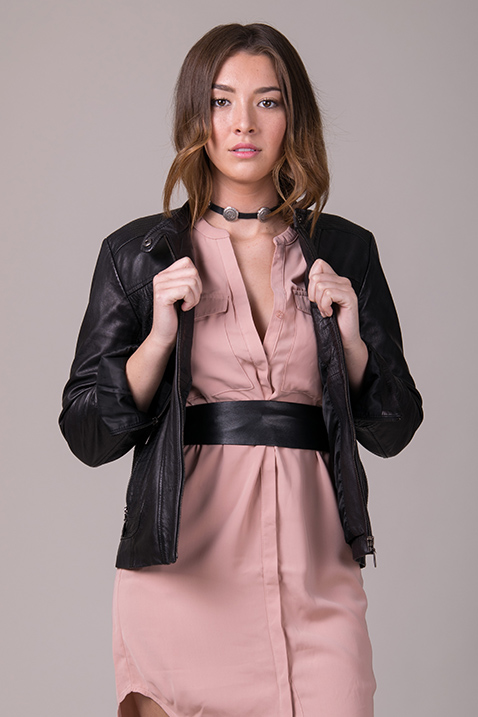 Choker + Belt | Black belt | Black leather jacket | 5 'Must-Try' Fall Styling Combos | Belted pink dress | ADA Blog